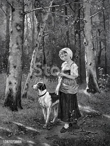 istock Happy girl with dog in the forest 1287073864