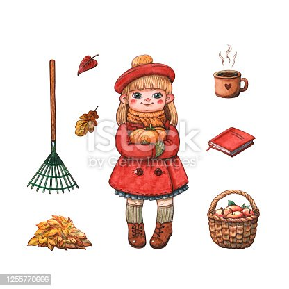 Hand drawn watercolor illustration of happy girl in red autumn coat with pumpkin, rake, heap of fallen leaves and apples in wicker basket isolated on white. Season, thanksgiving and halloween concept