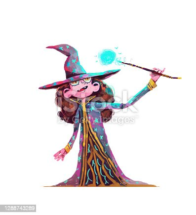 istock Happy Girl Wizard Cartoon Character Design Illustration. Witch or Wizard with Magic blue Wand. Magician Child Smile and Happy. Isolated on White. 1288743289