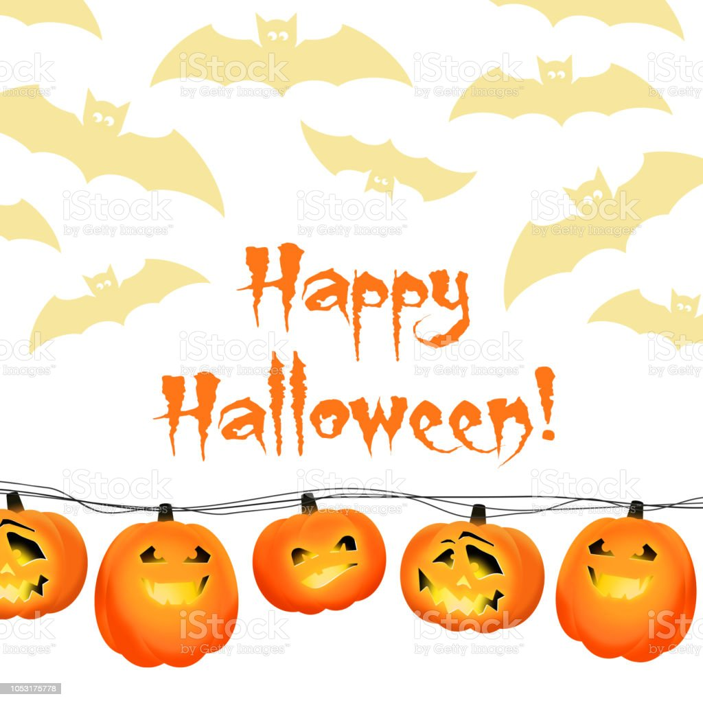 happy halloween card template with the garland of pumpkin heads and
