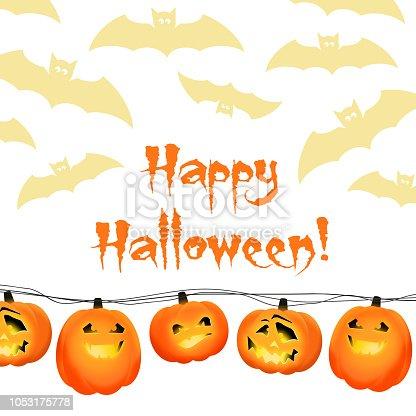 istock Fondo de Halloween con tres sonrientes cabezas de calabaza ...