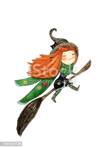 istock Happy Halloween, fairytale card. Witch flying on broom, hand drawn watercolor cartoon character illustration on white 1344042135