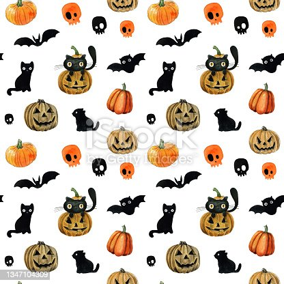 istock Happy halloween seamless pattern for gift wrapping paper or holiday party design, wallpaper 1347104309