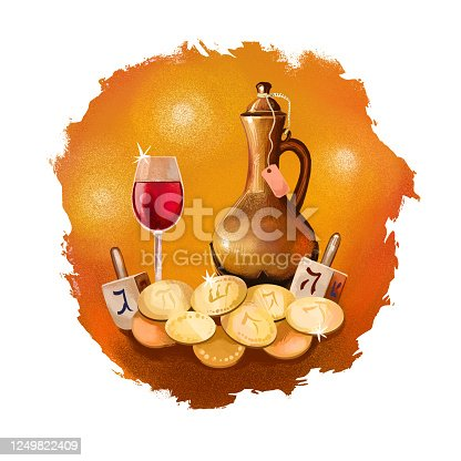 istock Happy Hannukah, Chanukah digital art illustration. Religious Jewish holiday commemorating the rededication of the Holy Temple in Jerusalem. Hebrew national celebration. Graphic clip art for web print 1249822409