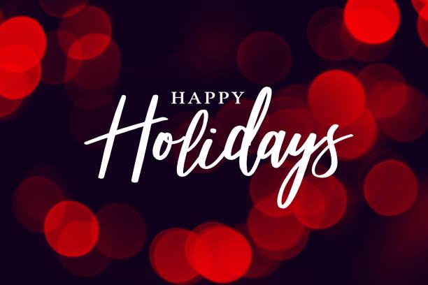 愉快的假日書法與紅色燈背景 - happy holidays 幅插畫檔、美工圖案、卡通及圖標