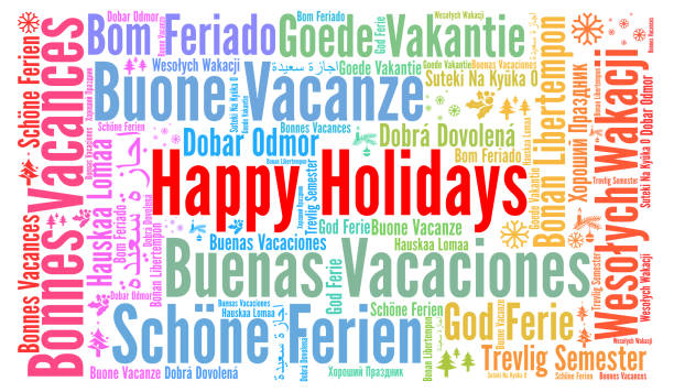 illustrazioni stock, clip art, cartoni animati e icone di tendenza di happy holidays word cloud in different languages - lingua