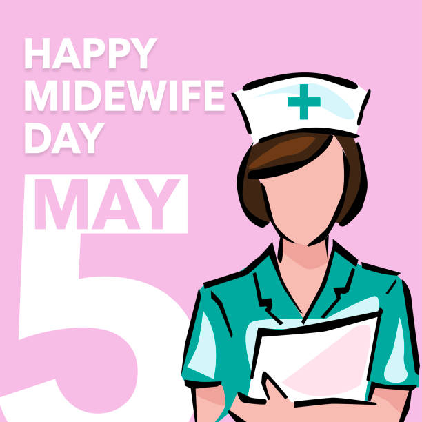 Happy international midwife day may 5 International midwives day may 5, simple illustrations greeting midwives day. male nurse stock illustrations