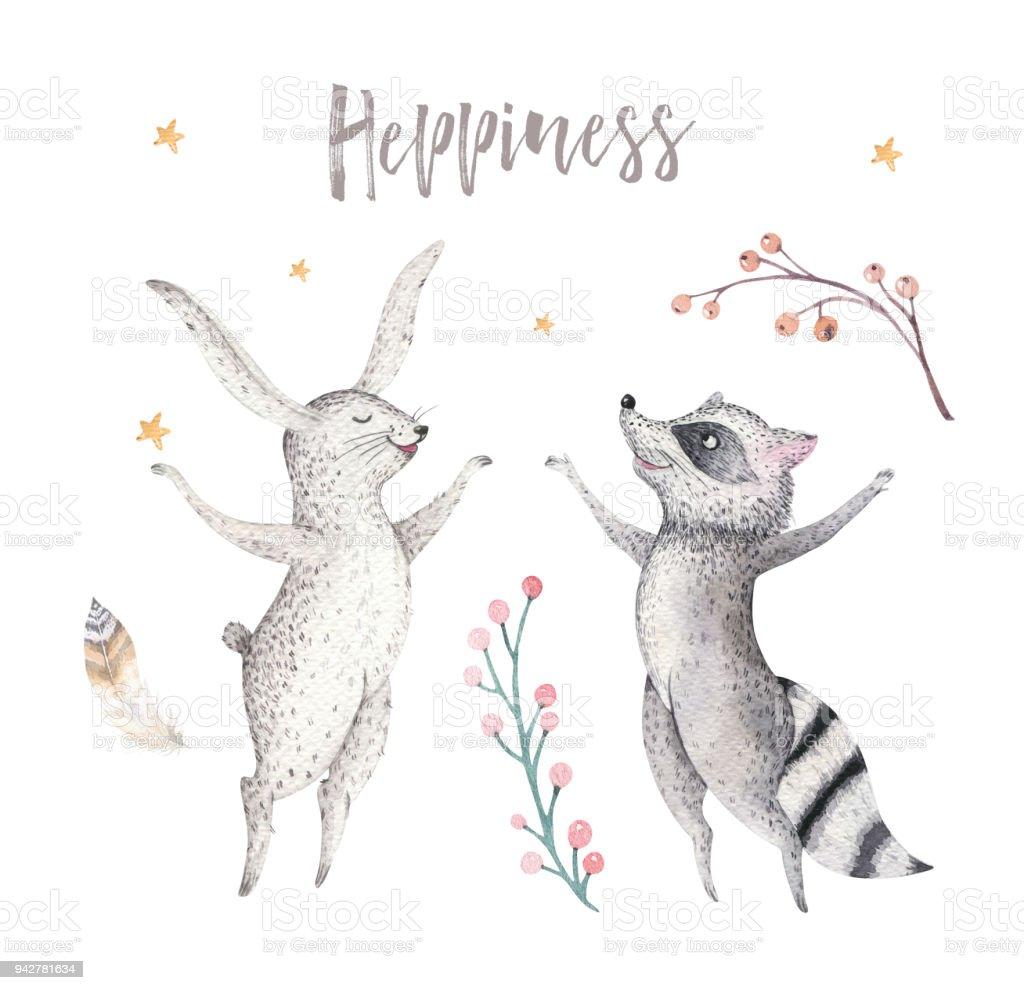 Mutlu Biella Rakun Ve Bunny Hayvan Illüstrasyon çocuklar Suluboya