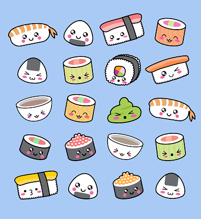 Happy kawaii sushi pattern