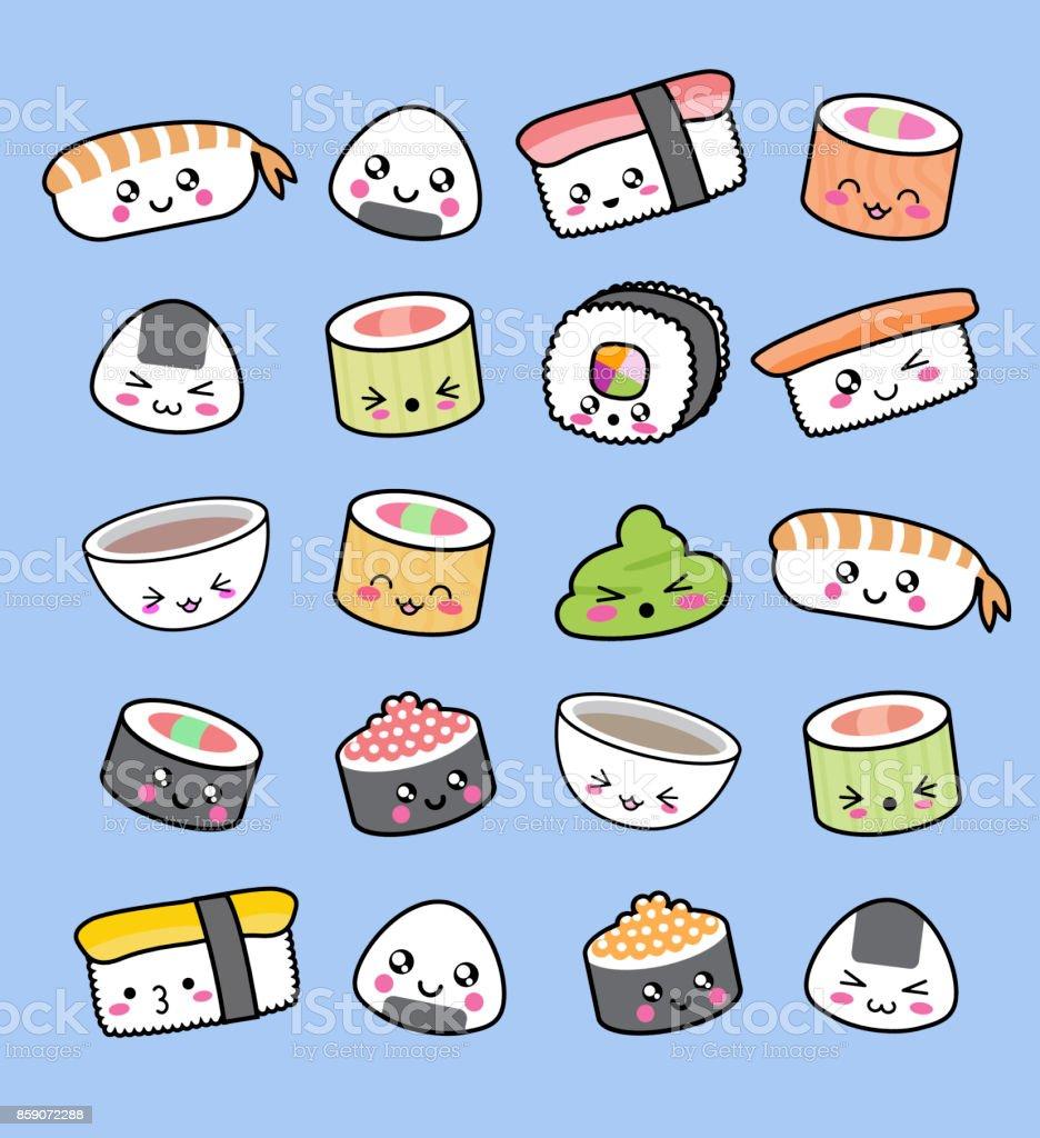Happy kawaii sushi pattern vector art illustration