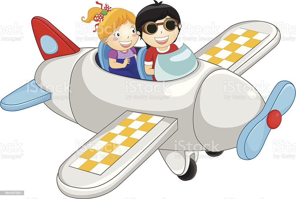 Happy kids flying by plane royalty-free stock vector art