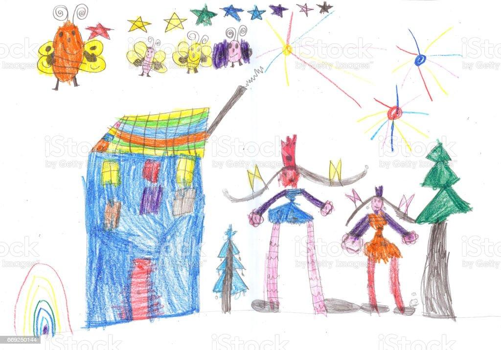 Ilustracion De Ninos Felices Jugando Y Viendo Fuegos Artificiales