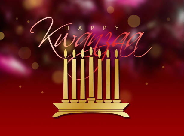 happy kwanzaa gold candles and glowing red background graphic - kwanzaa stock illustrations