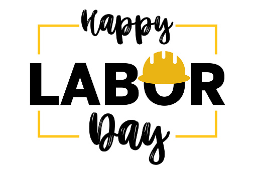 Happy Labor Day 1st may lettering with helmet on white background. Labour Day card. International Workers day illustration for greeting card. USA