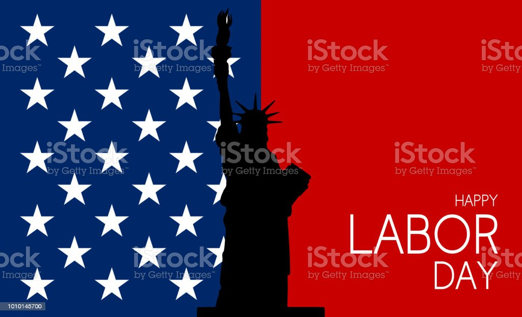 Happy Labor Day text on blue starry and red background. Layer effect...