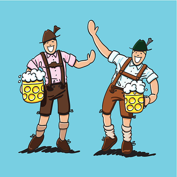 """Happy Lederhosen Men With Beer Stein """"Sketchy vector illustration of two happy Lederhosen Men with both holding a beer stein. Line art, color and background are on separate layers, so you also can use the illustration on your own background. The colors in the .eps-file are ready for print (CMYK). Included files: EPS (v8) and Hi-Res JPG."""" oktoberfest stock illustrations"""