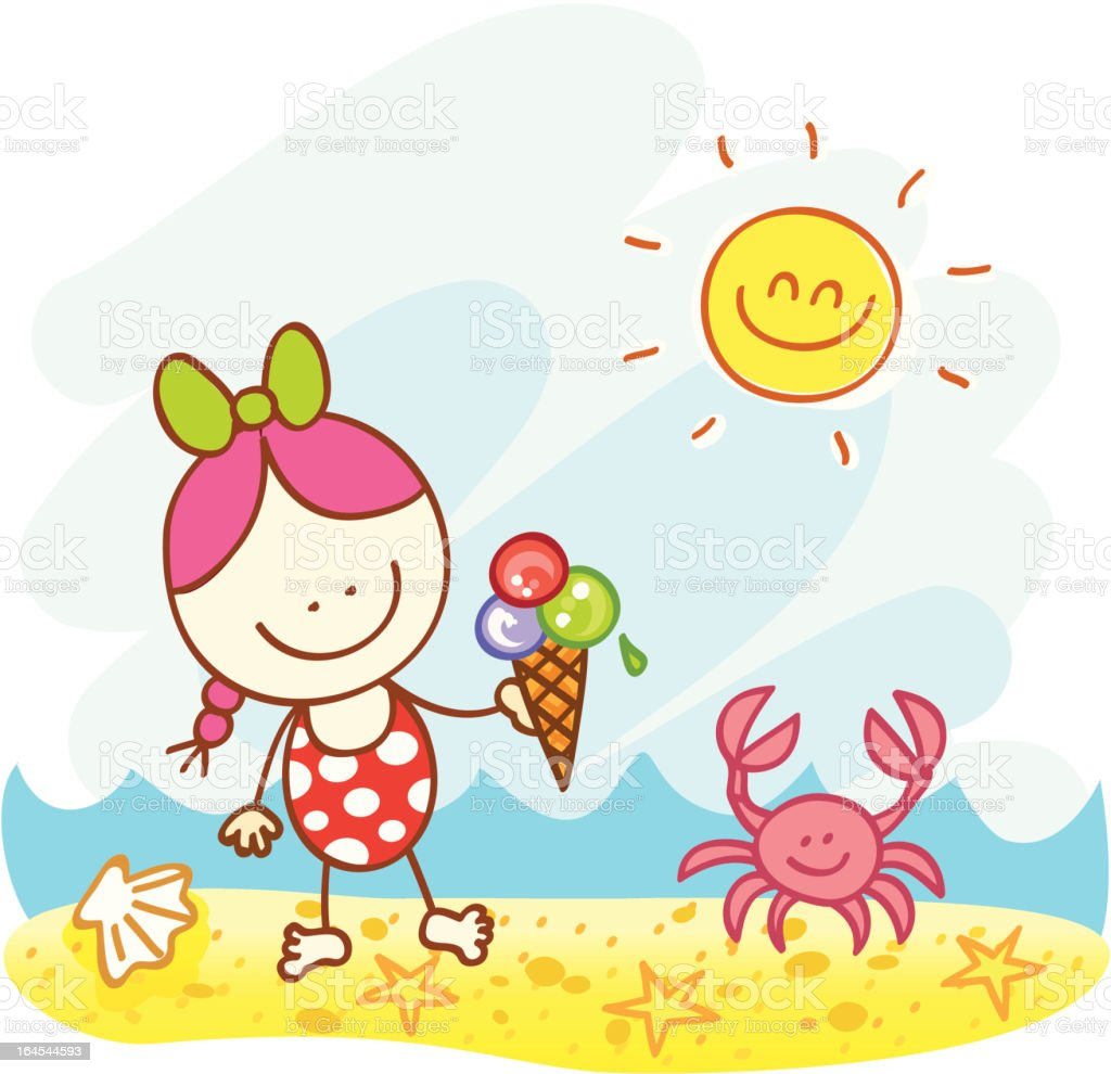 happy little and crab at beach cartoon illustration stock