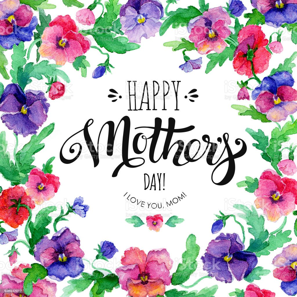 Happy Mothers Day Banner With Pansies Stock Illustration ...