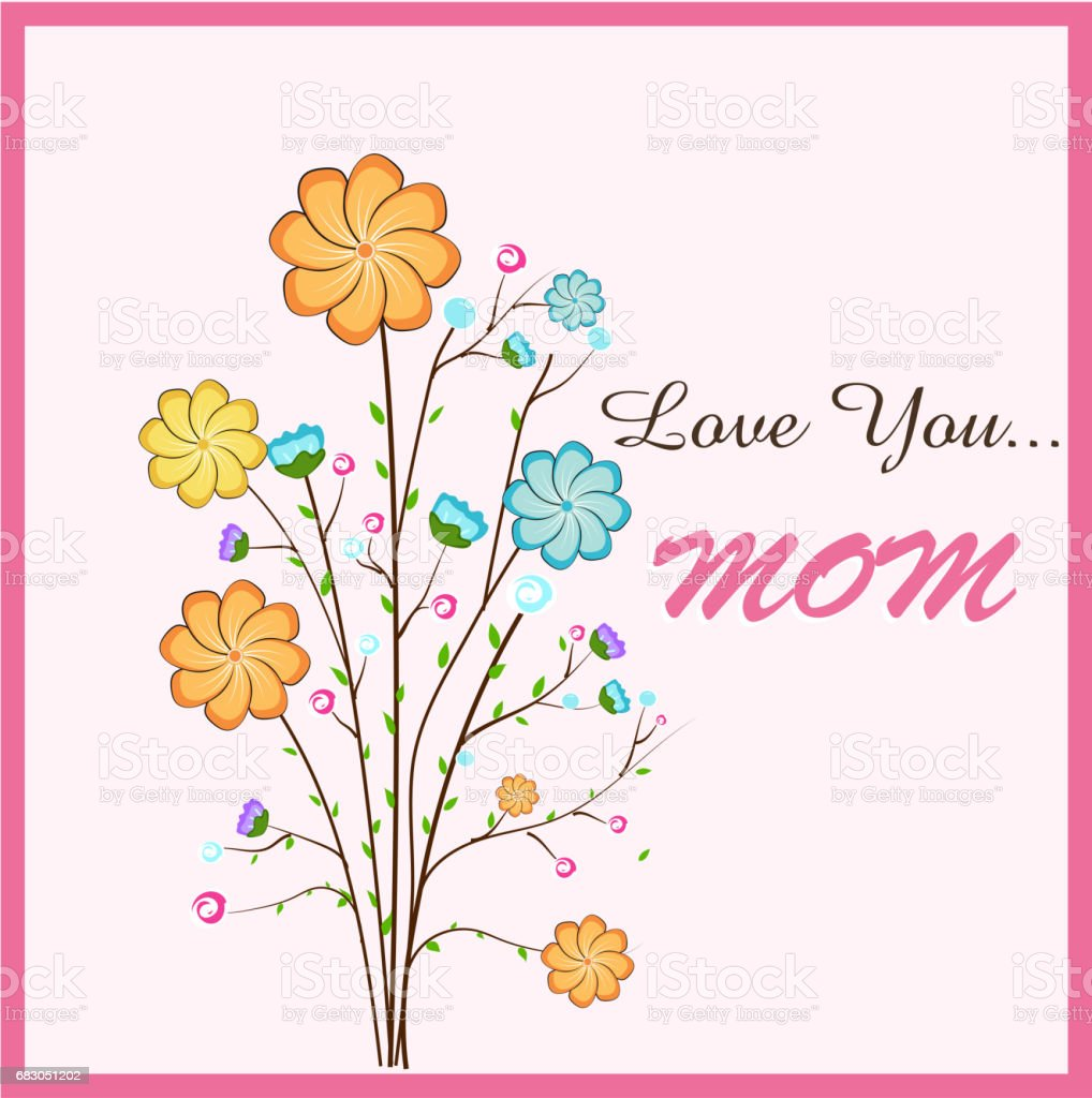 Happy Mothers Day Greeting Card Design With Beautiful Flowers And