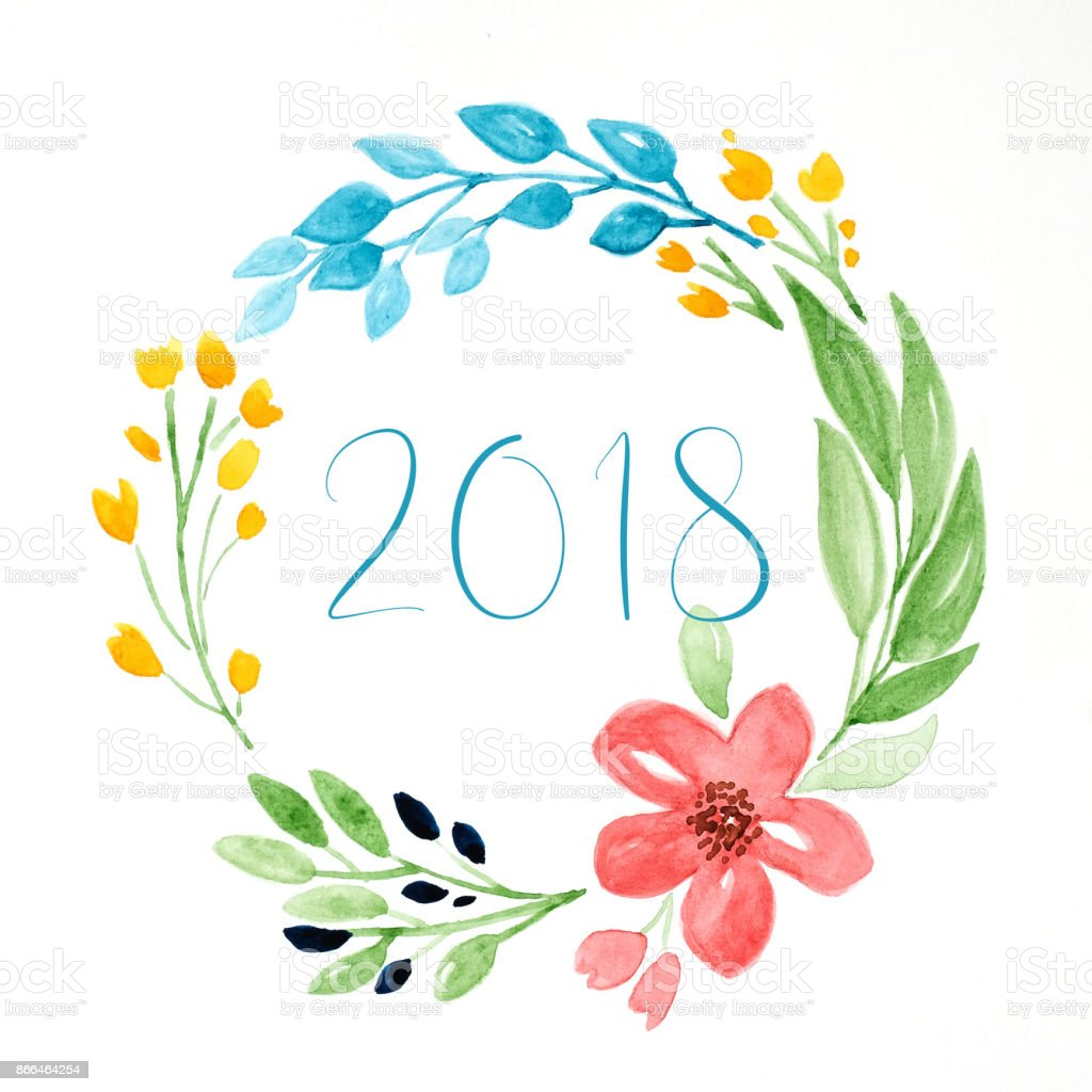 Happy New Year 2018 On Hand Painting Flowers Wreath In Watercolor