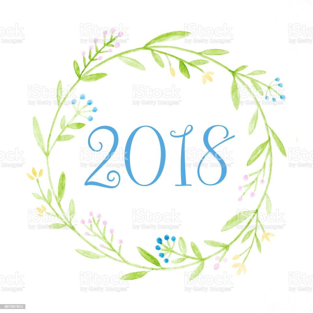 Mutlu Yeni Yıl 2018 Suluboya Elindeki çiçek çelenk Boyama Beyaz Arka