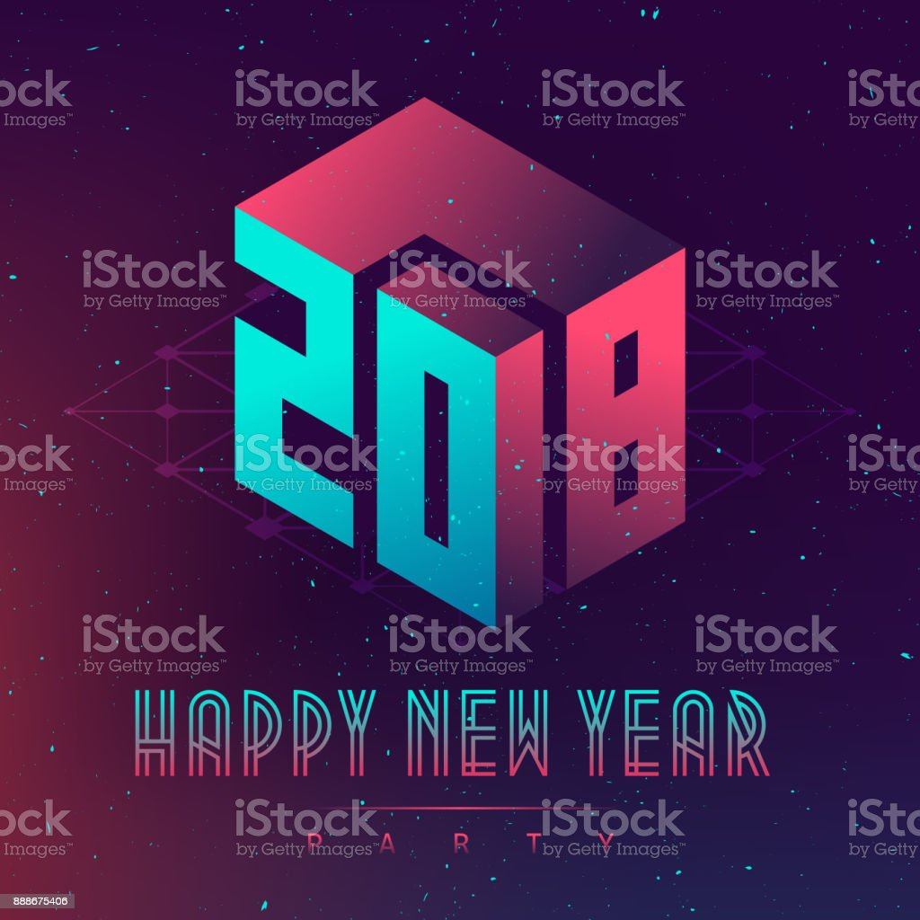 happy new year 2018 party futuristic design posters with abstract