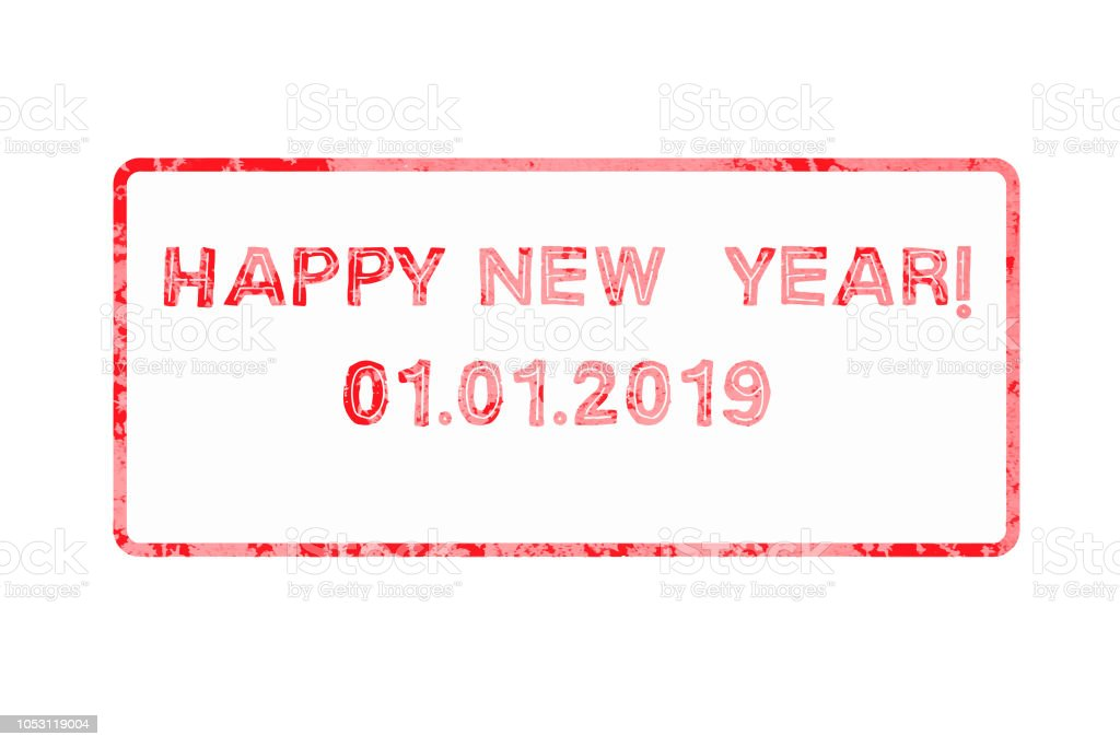 Happy New Year 2019 Festive Postage Stamp Isolated On White