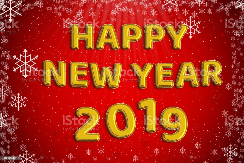 happy new year 2019 golden foil balloon word with red xmas background for christmas day and