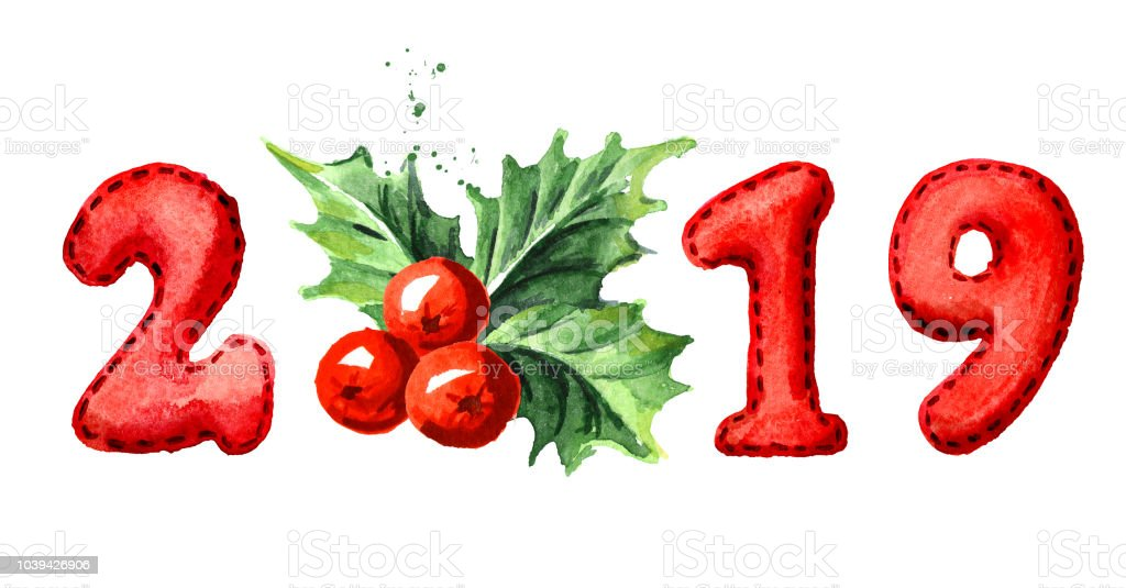2019 happy new year banner christmas holly berry with numbers watercolor hand drawn illustration