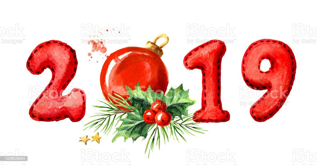 2019 happy new year banner fir branch and red ball watercolor hand drawn illustration
