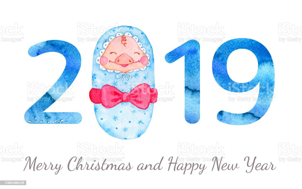 happy new year banner with cute newborn pig and numbers royalty free happy new