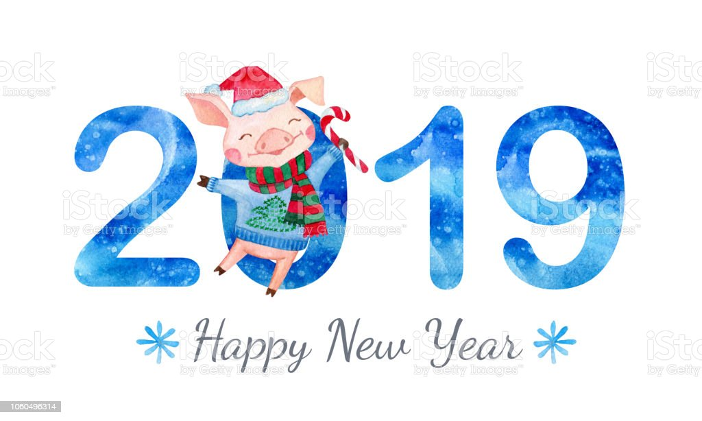 happy new year banner with cute pig and numbers royalty free happy new year