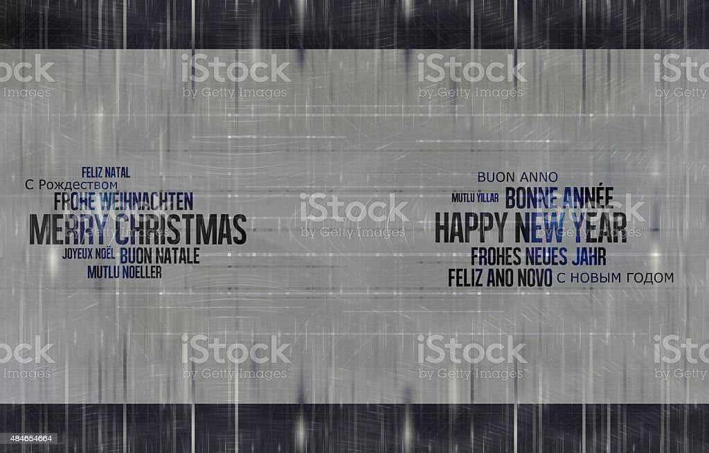 Happy New Year Christmas Multilingual vector art illustration