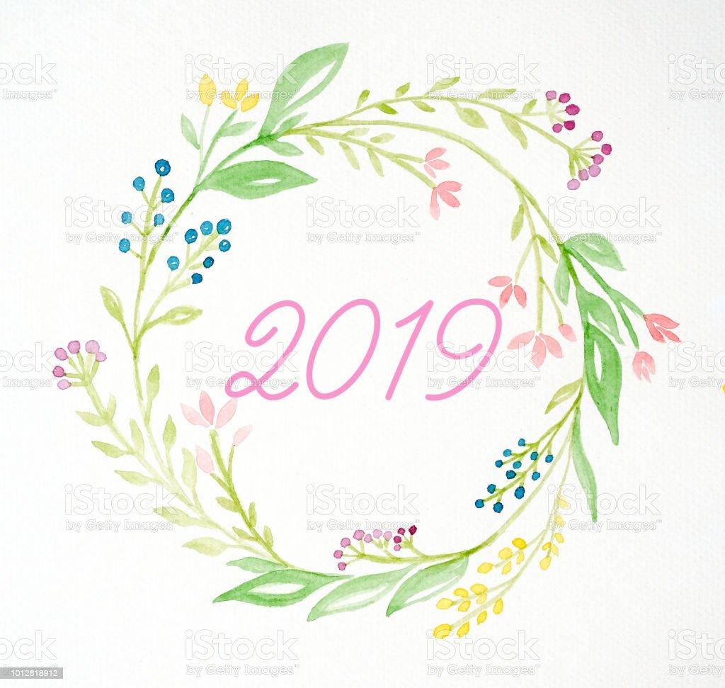 bonne ann e 2019 sur guirlande de fleurs aquarelle color sur fond blanc carte de voeux de. Black Bedroom Furniture Sets. Home Design Ideas