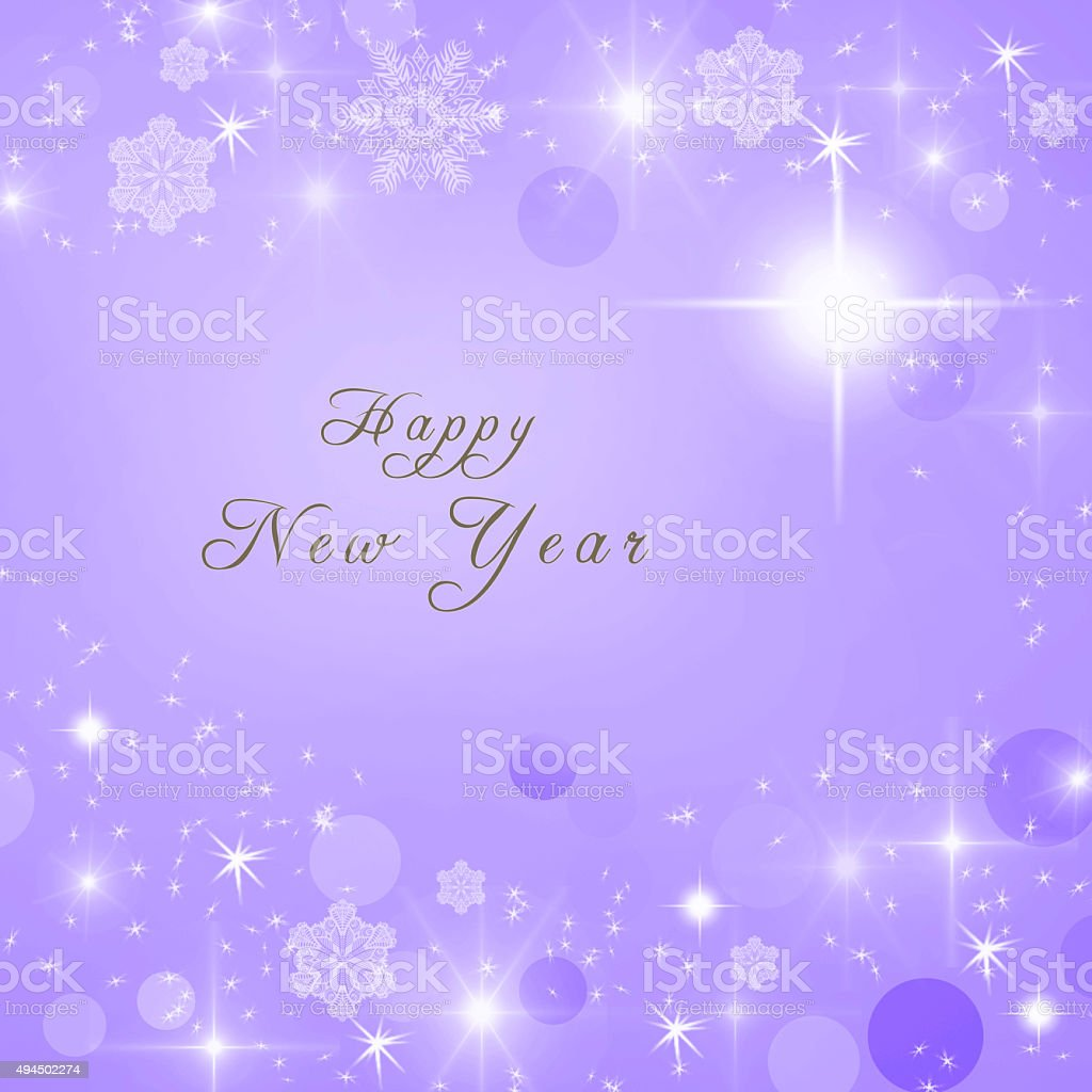 happy new year text written on purple bright sparkly background royalty free happy new