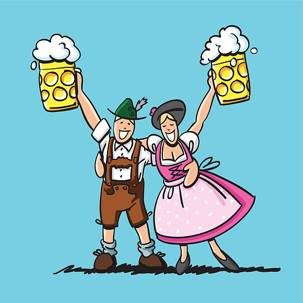 "Happy Oktoberfest Couple Beer ""Sketchy vector illustration of a happy couple in Dirndl and Lederhosen, who are saying 'Cheers' at the Oktoberfest. Line art, color and background are on separate layers, so you also can use the illustration on your own background. The colors in the .eps-file are ready for print (CMYK). Included files: EPS (v8) and Hi-Res JPG."" doodle NOT black and white stock illustrations"