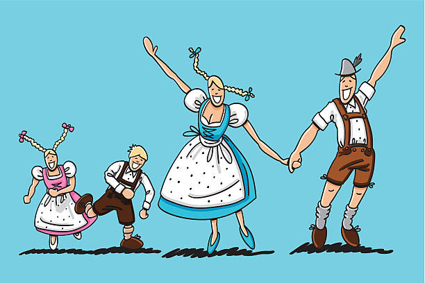 """Happy Oktoberfest Couple With Children """"Vector illustration of a happy bavarian family in Dirndl and Lederhosen. The line art, color and background are on separate layers, so you also can use the illustration on your own background. The colors in the .eps-file are ready for print (CMYK). Included files: EPS (v8) and Hi-Res JPG."""" oktoberfest stock illustrations"""