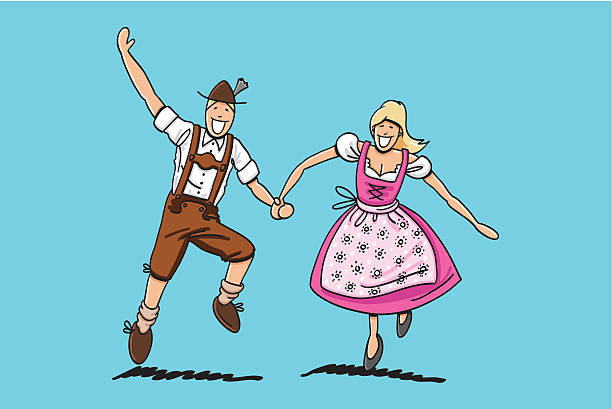 "Happy Oktoberfest Lovers ""Vector illustration of a bavarian couple in Dirndl and Lederhosen. They are dancing at the Oktoberfest. The line art, color and background are on separate layers, so you also can use the illustration on your own background. The colors in the .eps-file are ready for print (CMYK). Included files: EPS (v8) and Hi-Res JPG."" doodle NOT black and white stock illustrations"