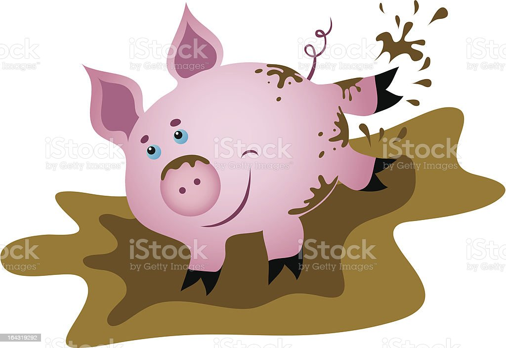 Happy piggy jumping in the mud royalty-free stock vector art