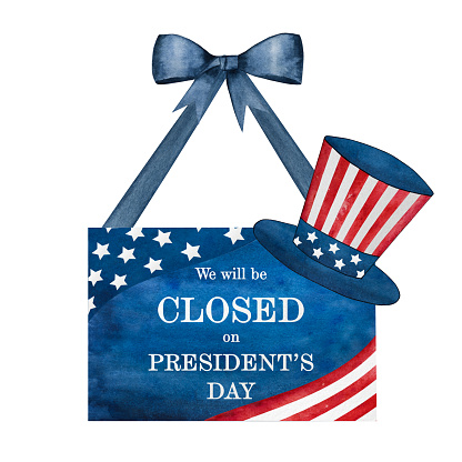Happy Presidents' Day. Congratulatory inscription for the holiday