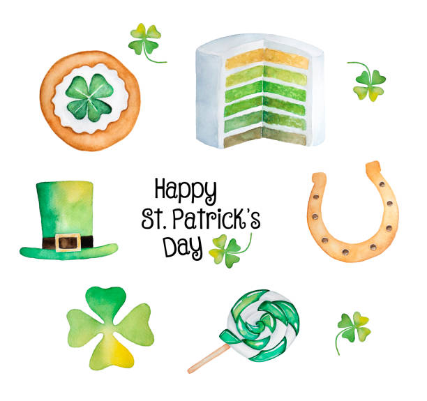Happy Saint Patrick's Day Collection. Traditional lucky charms, four leaf clover, horse shoe, hat, celebration snacks and treats ideas. Hand drawn watercolour drawings, isolated, white background. good luck charm stock illustrations