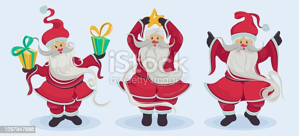 istock Happy Santa Claus in different poses isolated set. Santa wishes everyone a Merry Christmas and Happy New Year Vector illustration 1297947688