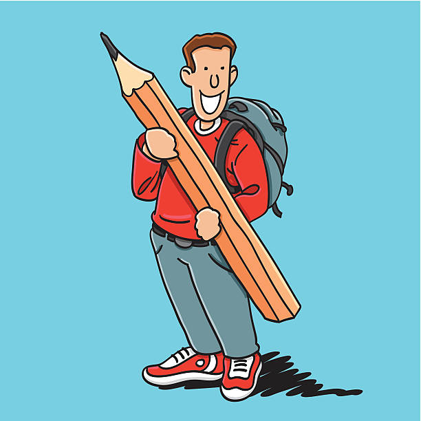"Happy School Boy Big Pencil ""Sketchy vector illustration of a Schoolboy with a backpack, who holds a big pencil. Line art, color and background are on separate layers, so you also can use the illustration on your own background. The colors in the .eps-file are ready for print (CMYK). Included files: EPS (v8) and Hi-Res JPG."" doodle NOT black and white stock illustrations"