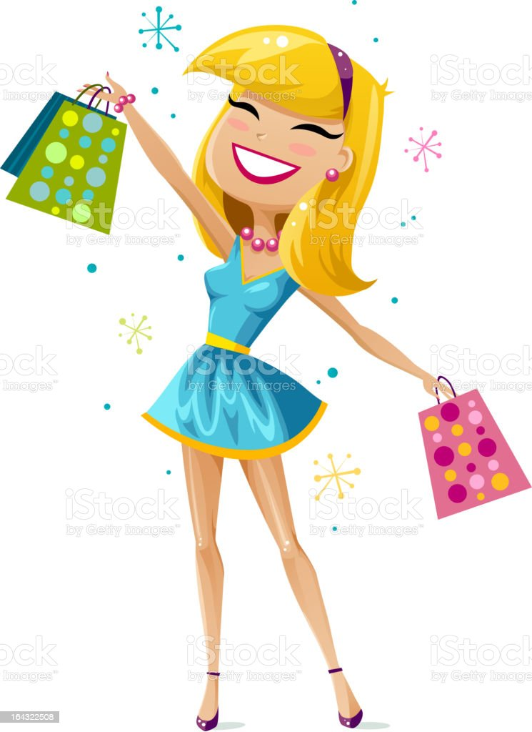 Happy shopper in retro-style royalty-free stock vector art