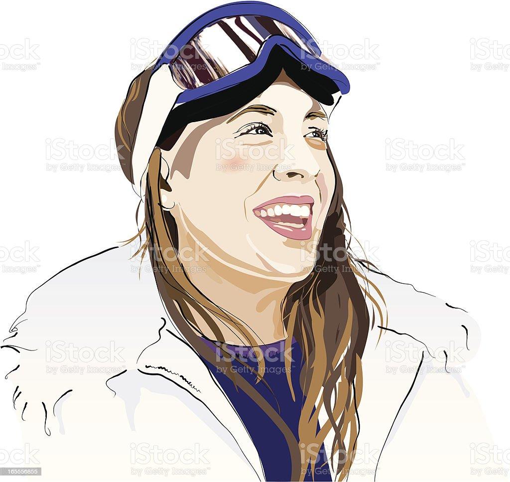 Happy Skier vector art illustration