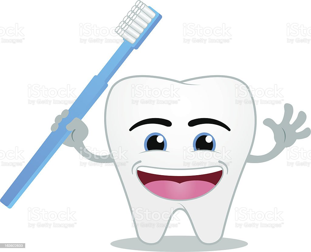 Happy smiling cartoon tooth holding a toothbrush vector art illustration