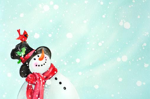 Happy Snowman And Red Bird Friend