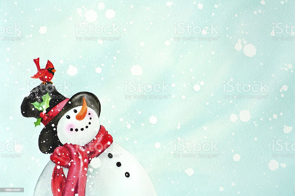 Happy Snowman And Red Bird Friend vector art illustration