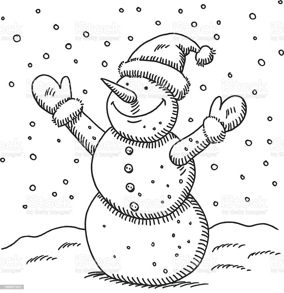 Uncategorized Drawing Snowman happy snowman drawing stock vector art 165927342 istock royalty free art