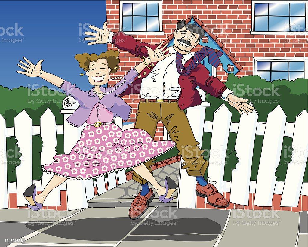 Happy Suburban Seniors royalty-free happy suburban seniors stock vector art & more images of beauty